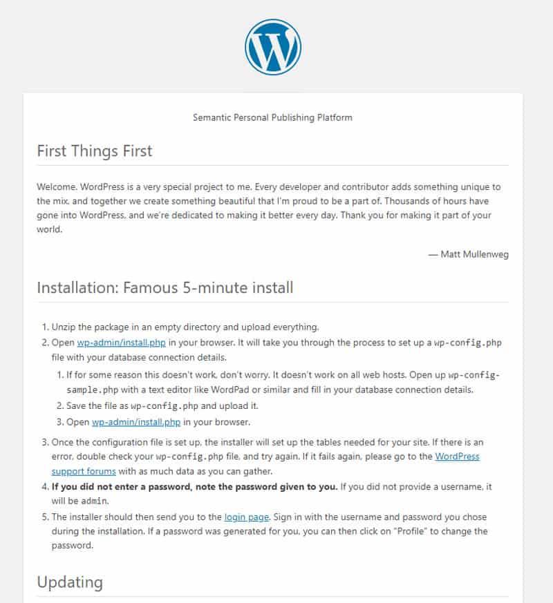 WordPress Readme file