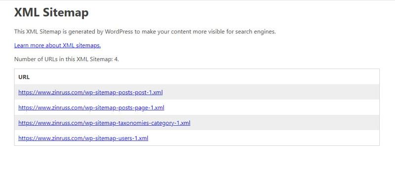 WordPress default XML Sitemap